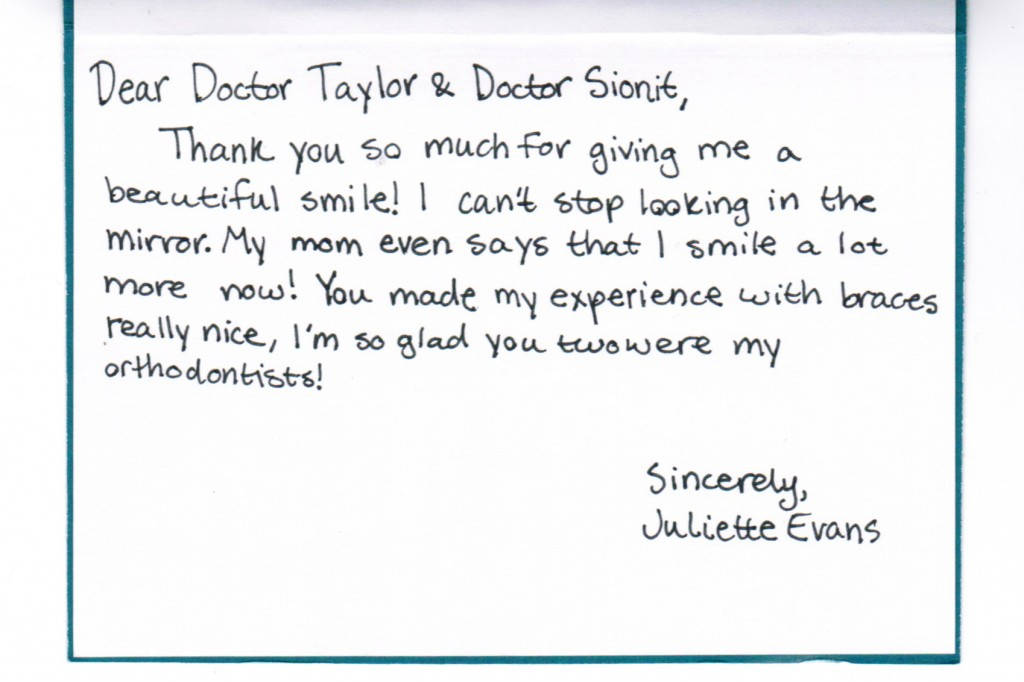 Thank you card from Juliete Evans